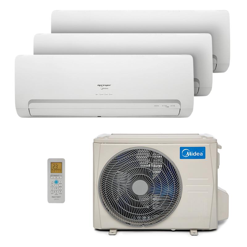 Ar Condicionado Multi Tri Split Hw Inverter Springer Midea 2X12000+ 1X18000 Btus Quente/Frio 220V 38MBMA36M5